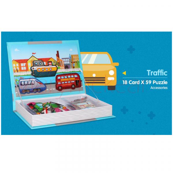 Carte magnetică,  Joc Educativ STEM - Puzzle cu trafic și mijloace de transport [2]
