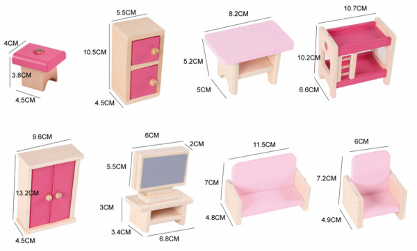 Casuta din lemn pentru papusi cu mobilier Pink 2