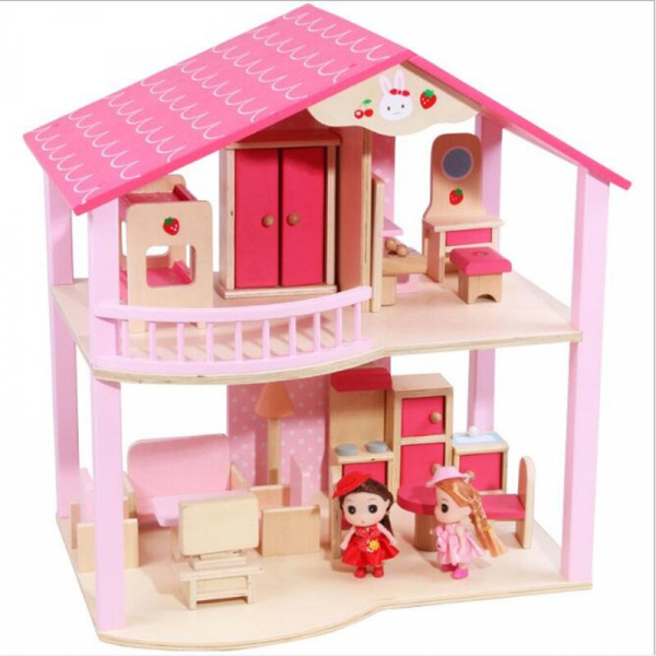 Casuta din lemn pentru papusi cu mobilier Pink 0