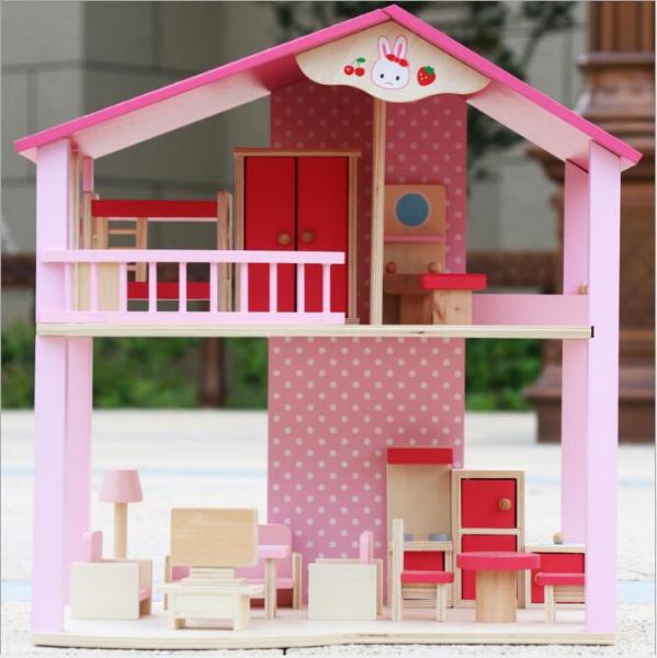 Casuta din lemn pentru papusi cu mobilier Pink 3