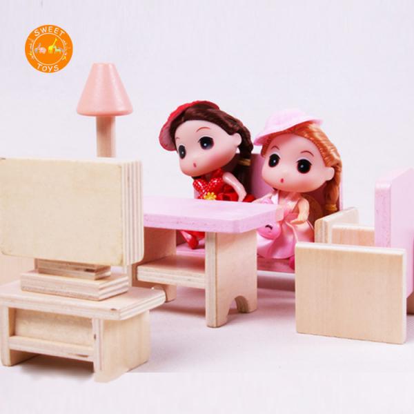 Casuta din lemn pentru papusi cu mobilier Pink 4