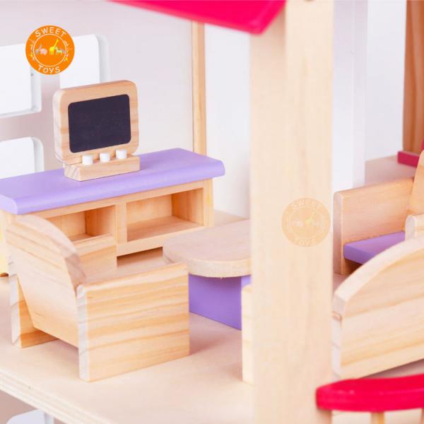 Casuta din lemn pentru papusi cu mobilier Pink 5