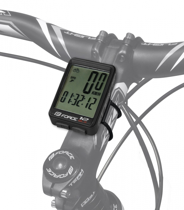 Ciclocomputer bicicleta Force 12F fara fir negru [1]