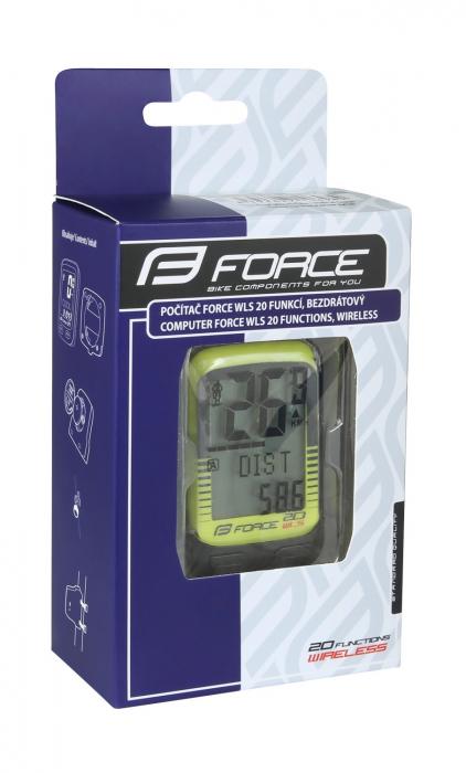 Ciclocomputer Force WLS 20F fara fir galben fluo [4]
