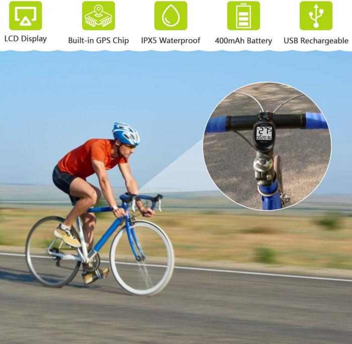 Ciclocomputer GPS pentru bicicleta Meilan M3 mini, Baterie reincarcabila 400 mAh, Rezistenta la apa IPX5, Ecran LCD (Negru) [3]