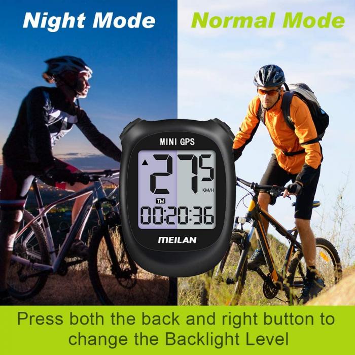Ciclocomputer GPS pentru bicicleta Meilan M3 mini, Baterie reincarcabila 400 mAh, Rezistenta la apa IPX5, Ecran LCD (Negru) [4]