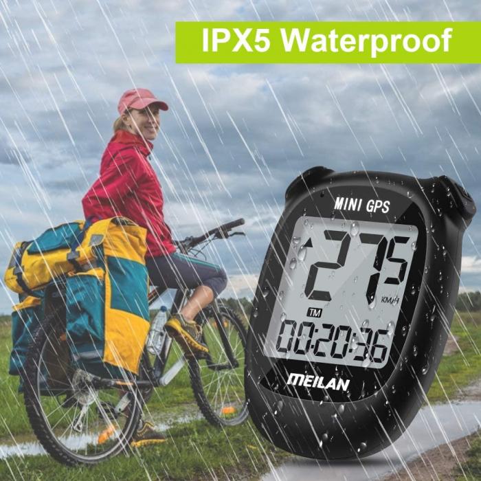 Ciclocomputer GPS pentru bicicleta Meilan M3 mini, Baterie reincarcabila 400 mAh, Rezistenta la apa IPX5, Ecran LCD (Negru) [5]
