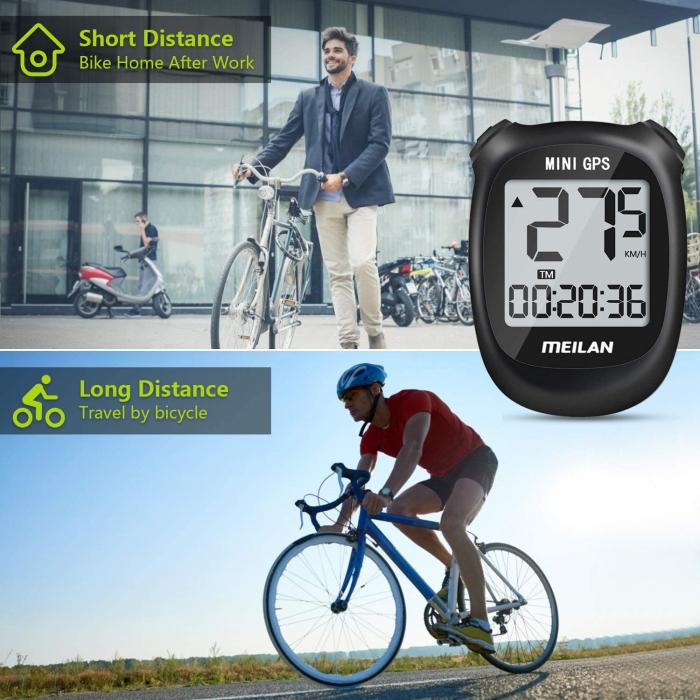 Ciclocomputer GPS pentru bicicleta Meilan M3 mini, Baterie reincarcabila 400 mAh, Rezistenta la apa IPX5, Ecran LCD (Negru) [6]