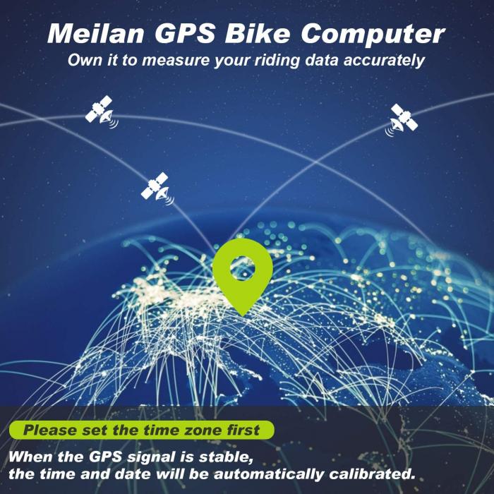 Ciclocomputer GPS pentru bicicleta Meilan M3 mini, Baterie reincarcabila 400 mAh, Rezistenta la apa IPX5, Ecran LCD (Negru) [7]