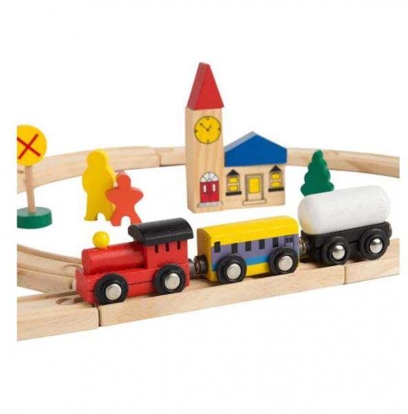 Circuit trenuleț din lemn Glyph Track cu vagoane cu magnet, semne circulație, clădiri, Play Time, 48 piese, + 3 ani 1