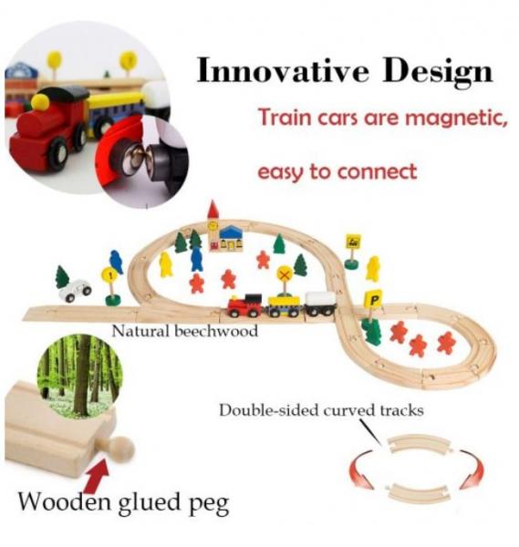 Circuit trenuleț din lemn Glyph Track cu vagoane cu magnet, semne circulație, clădiri, Play Time, 48 piese, + 3 ani 2