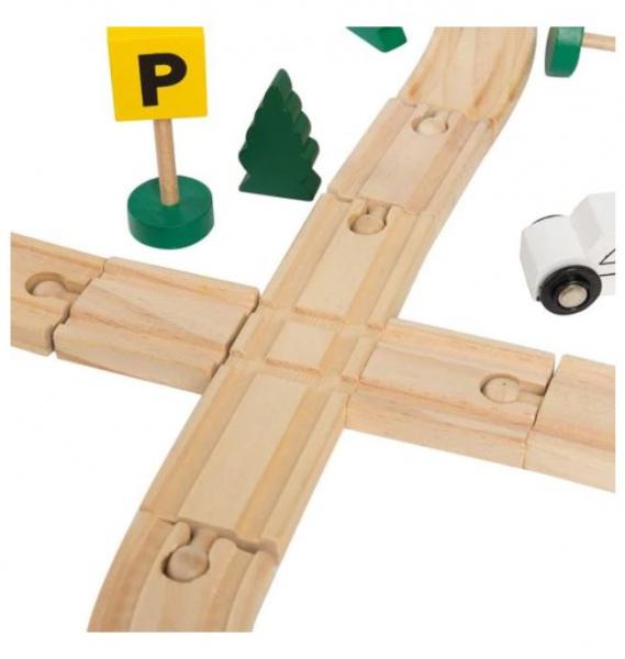 Circuit trenuleț din lemn Glyph Track cu vagoane cu magnet, semne circulație, clădiri, Play Time, 48 piese, + 3 ani 3