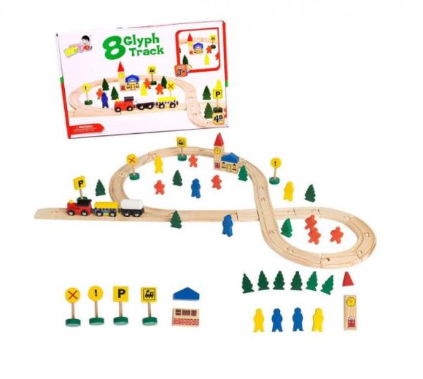 Circuit trenuleț din lemn Glyph Track cu vagoane cu magnet, semne circulație, clădiri, Play Time, 48 piese, + 3 ani 0