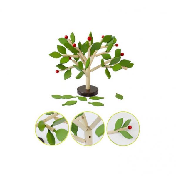 Copac Montessori din lemn MSN, + 3 ani, Verde, 35 x 35 cm 2