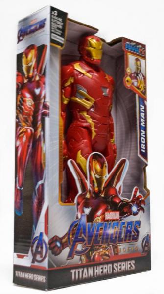 Figurina erou tip Avengers Marvel, Iron Man, culoare rosu, articulatii flexibile, iluminare led, 30 cm 1