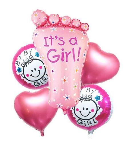 Set de 5 Baloane folie talpa, baloane Baby Girl rotunde, balone stelute , roz [0]
