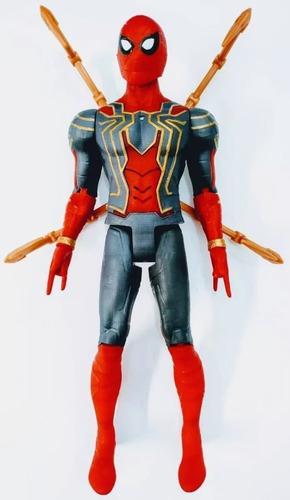 Figurina erou tip Avengers Marvel, Spiderman, culoare rosu, articulatii flexibile, iluminare led, dimensiune 30 cm 1