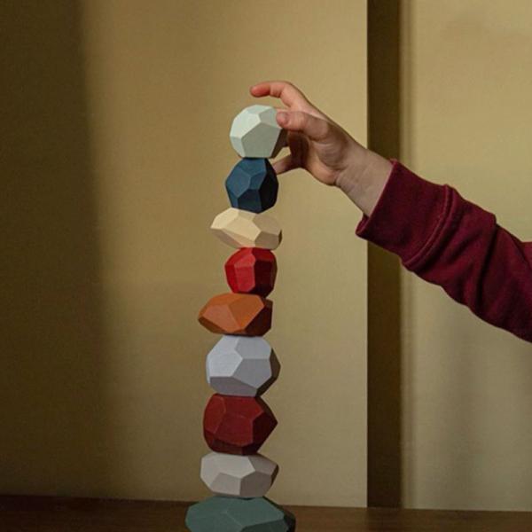 Pietre in echilibru - Joc stivuire din lemn, 22 piese 2