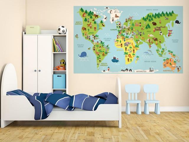 Sticker decorativ pentru camera copilului - HARTA LUMII 1