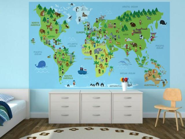 Sticker decorativ pentru camera copilului - HARTA LUMII 0