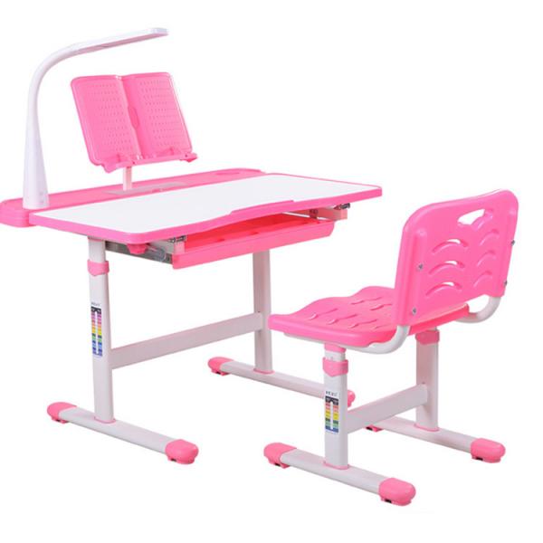 Birou de scris pentru copii, set de două piese, masă si scaun, reglabil pe înălțime, cu iluminare, roz [1]