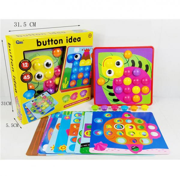 Joc de creație, Game Time - Button Idea, cu 12 planșe și 45 de butoane colorate, Multicolor, + 3 ani 6