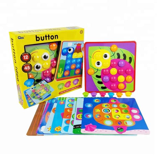 Joc de creație, Game Time - Button Idea, cu 12 planșe și 45 de butoane colorate, Multicolor, + 3 ani 0