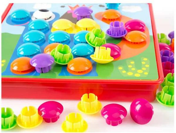 Joc de creație, Game Time - Button Idea, cu 12 planșe și 45 de butoane colorate, Multicolor, + 3 ani 5
