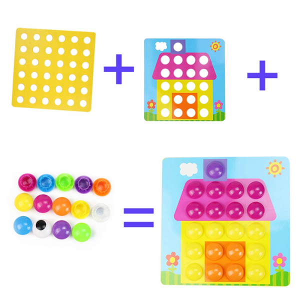 Joc de creație, Game Time - Button Idea, cu 12 planșe și 45 de butoane colorate, Multicolor, + 3 ani 3