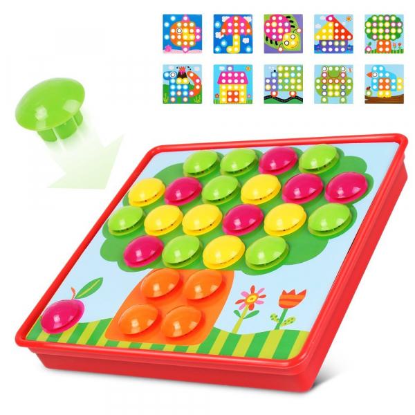 Joc de creație, Game Time - Button Idea, cu 12 planșe și 45 de butoane colorate, Multicolor, + 3 ani 4