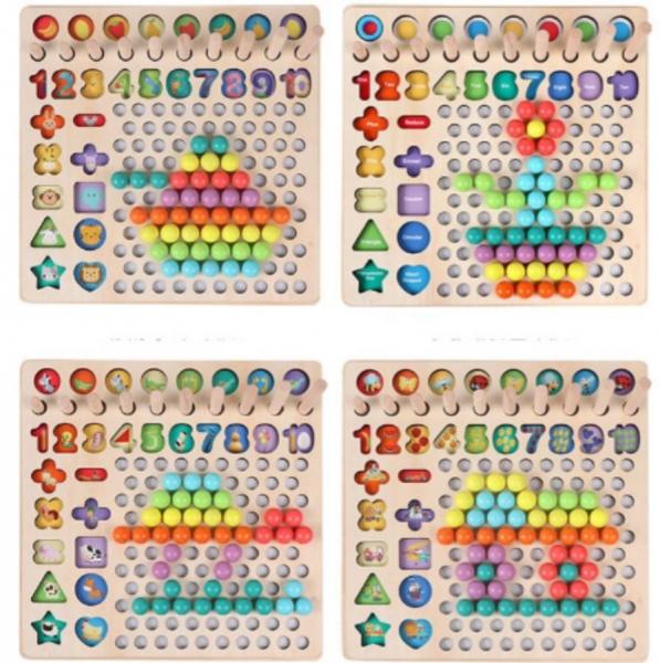 Joc de îndemânare din lemn 6 in 1 cu cifre, forme geometrice, logaritmic cu stivuire piese, pescuit magnetic 4