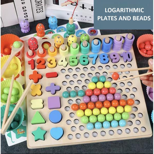 Joc de îndemânare din lemn 6 in 1 cu cifre, forme geometrice, logaritmic cu stivuire piese, pescuit magnetic 1