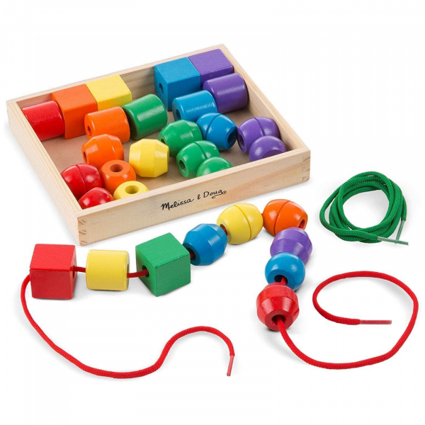 Jucărie de înșiruit din Lemn, Melissa & Doug, 30 piese colorate 0