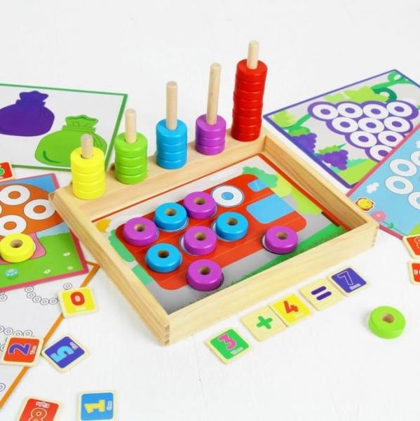 Joc educativ asociere, puzzle şi numărătoare 1
