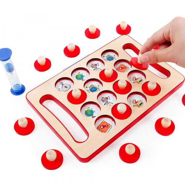 "Joc educativ Montessori pentru memorie ""Memory Chess"", Mattelot Toys 1"