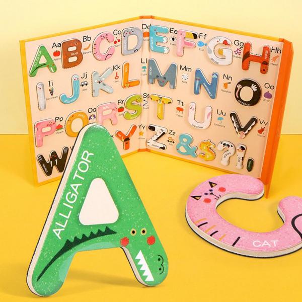 Joc lemn Carte cu Litere Magnetice si cuvinte in Engleza - Invatam alfabetul Pairing Letters [1]