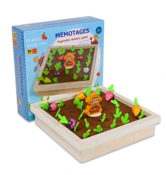 Joc lemn Memorie Gradina cu Legume - Joc Montessori din Lemn Gradina cu Legume [0]