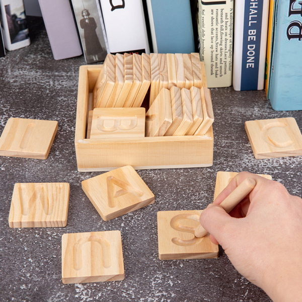 Joc Montessori din Lemn Placute Litere - Joc lemn montessori senzorial Alfabetul 0