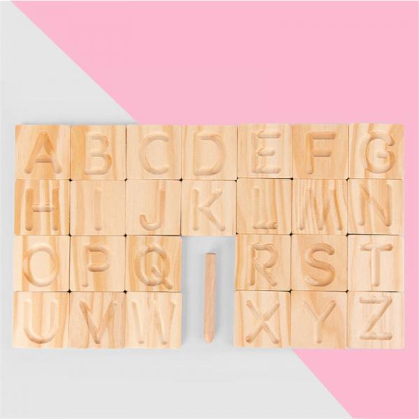 Joc Montessori din Lemn Placute Litere - Joc lemn montessori senzorial Alfabetul 1