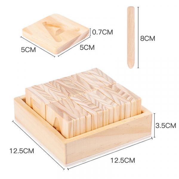 Joc Montessori din Lemn Placute Litere - Joc lemn montessori senzorial Alfabetul 3