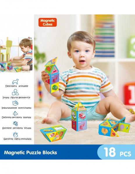 Joc constructii magnetice puzzle Magnetic Cubes 18 piese 2