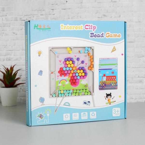 Joc Montessori de asociere si indemanare cu bile colorate [6]