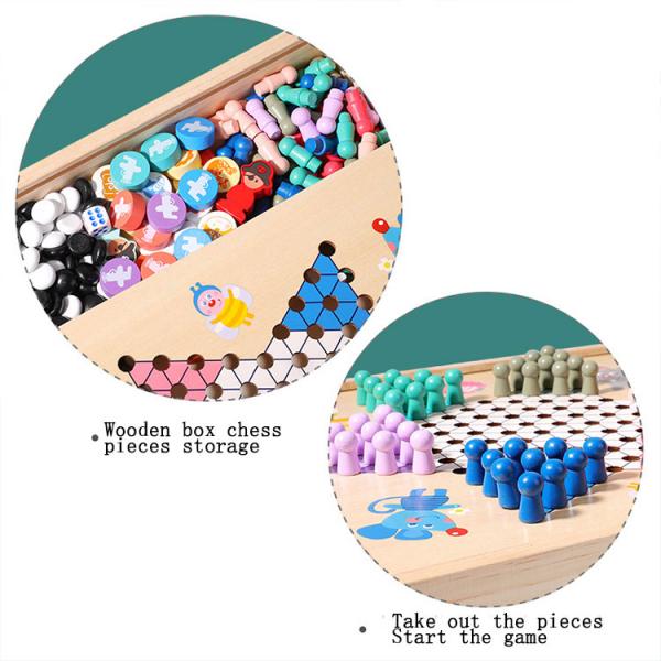 Joc din Lemn Educațional Dame - Joc din Lemn puzzle 7 în 1 9
