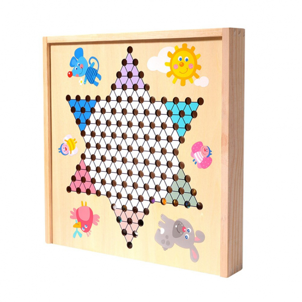 Joc din Lemn Educațional Dame - Joc din Lemn puzzle 7 în 1 2