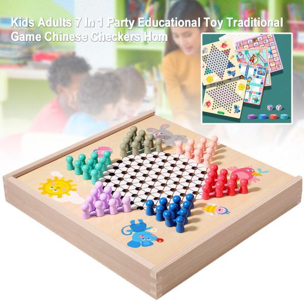 Joc din Lemn Educațional Dame - Joc din Lemn puzzle 7 în 1 1