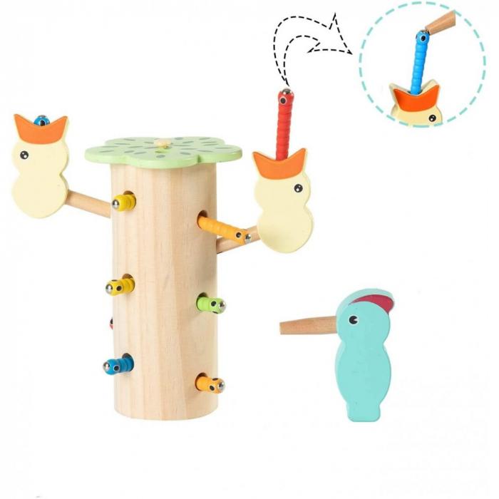 Jucarie din lemn educativa cu magnet, joc de indemanare Ciocanitoare cu pui [3]
