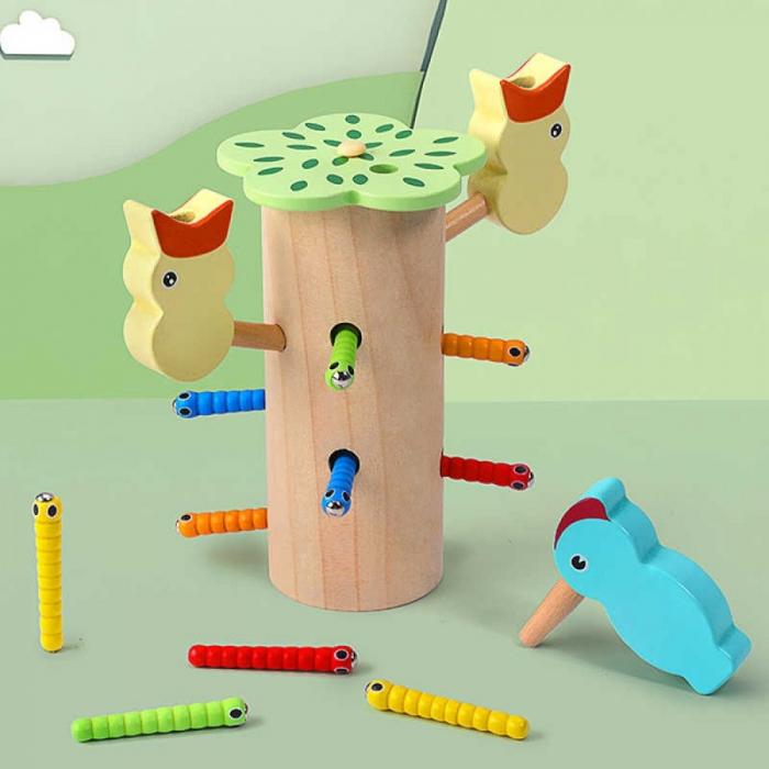Jucarie din lemn educativa cu magnet, joc de indemanare Ciocanitoare cu pui [2]