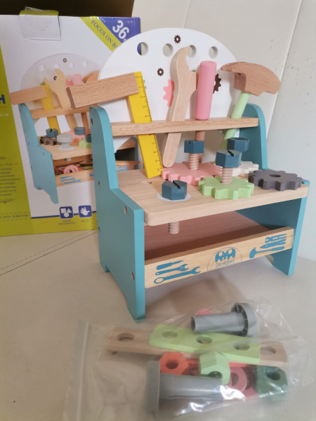 Jucarie din Lemn Montessori Banc de Scule Pastel - Masa de lucru copii 6