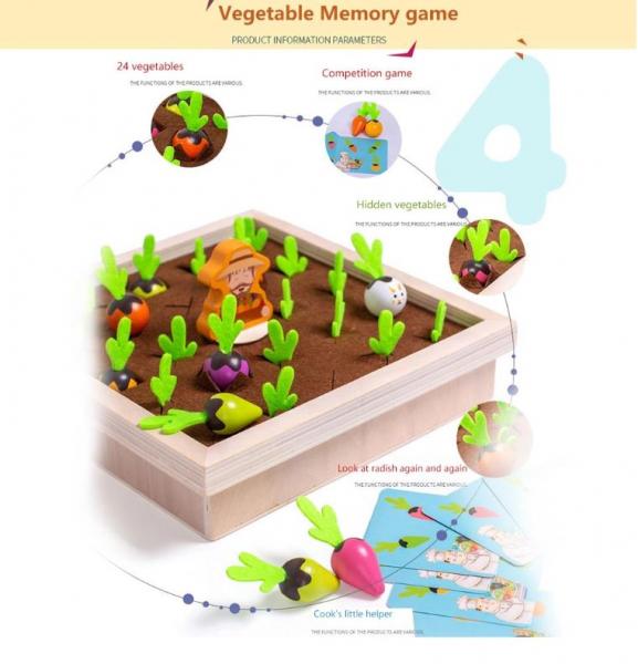 Joc lemn Memorie Gradina cu Legume - Joc Montessori din Lemn Gradina cu Legume [7]