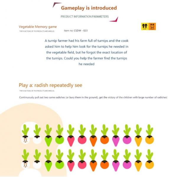 Joc lemn Memorie Gradina cu Legume - Joc Montessori din Lemn Gradina cu Legume [9]